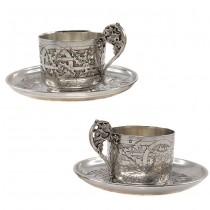 Serviciu tête-à-tête pentru servirea cafelei | argint 950 | atelier Alphonse Debain  | cca.1890