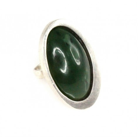 Spectaculos inel statement Space Age | jad natural & argint | semnat BK | Franța cca.1970
