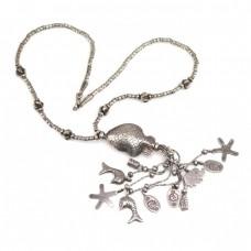 "Vechi colier etnic Hmong "" Hill Tribe ""  cu amulete porte-bonheur | manufactură în argint | Thailanda"