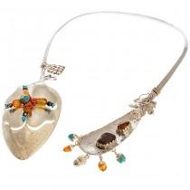 Spectacular colier Lingurision, bijuterie de autor, manufactură unicat în argint & pietre naturale