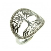 Rafinat inel din argint | Pomul vieții | argint placat rodium alb & cristale zirconium | Mărimea 14/54