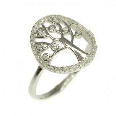 Rafinat inel din argint | Pomul vieții |  argint rodiat & cristale zirconium | Mărimea 18