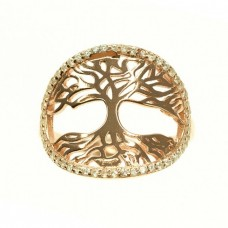 Rafinat inel din argint | Pomul vieții | argint placat cu aur roz & cristale zirconium | Mărimea 11/51