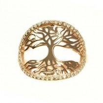 Rafinat inel din argint | Pomul vieții | argint placat cu aur roz & cristale zirconium | Mărimea 12/52