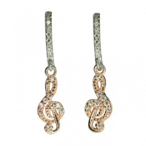 Delicați cercei din argint rodiat și placați cu aur roz | Cheia Sol | incrustații cu zirconium | BIJUTERIE NOUĂ !