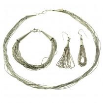 Set de bijuterii amerindiene din argint sterling  | Navajo | cercei, brățară & colier | Statele Unite
