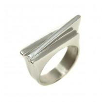 Inedit inel elaborat în manieră arhitecturală futuristă | argint 925 | Italia