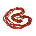 Splendid colier multi-strand cu anturaje de coral roșu natural de Sardinia | Oxblood |  închidere din aur 18k | Italia