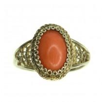 Rafinat inel din argint vermeil , decorat cu anturaj de coral roșu natural | Italia | anii '70