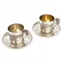 Serviciu tête-à-tête pentru servirea cafelei | Art Nouveau | argint 950 | atelier Alphonse Debain  | cca.1890