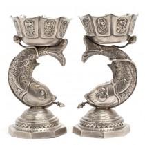 Rară garnitură de cupe iudaice, din argint, pentru caviar, sec XX, Rusia