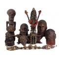 F RAR : Impresionantă sculptură ritualică africană- oracol Itombwe   triburile Kuba   Congo   cca.1940