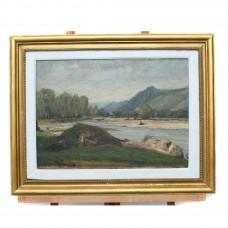 """Pictură în ulei pe pânză, """"Peisaj cu râu"""" - Bușteni, autor Bedivan Petre, cca. 1960"""