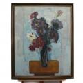 """Pictură în ulei pe pânză, """"Flori"""", autor Bedivan Petre (1928 - 1982). cca. 1979"""
