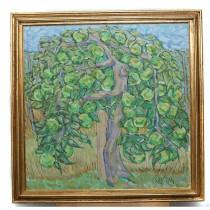 """Pictură în ulei pe pânză, """"Pomul vieții"""", autor Sever Iustian (n.1948)"""