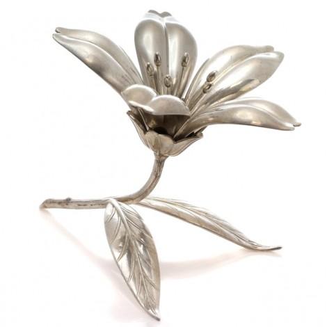 Garnitură modernistă cu 5 scrumiere solitaire | alamă argintată | atleier S. Agudo | anii '50 | Spania