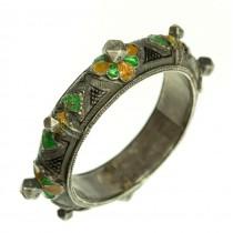 Veche brățară tribală Kabyle | manufactură în argint emailat | sec. XIX | Algeria