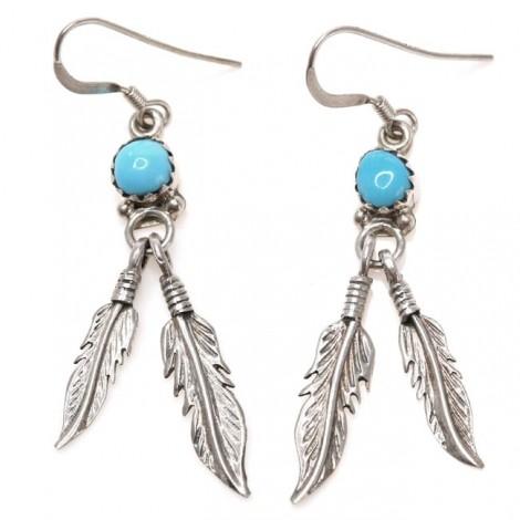 Cercei etnici amerindieni | Navajo Eagle Feather | argint și turcoaze naturale | Statele Unite
