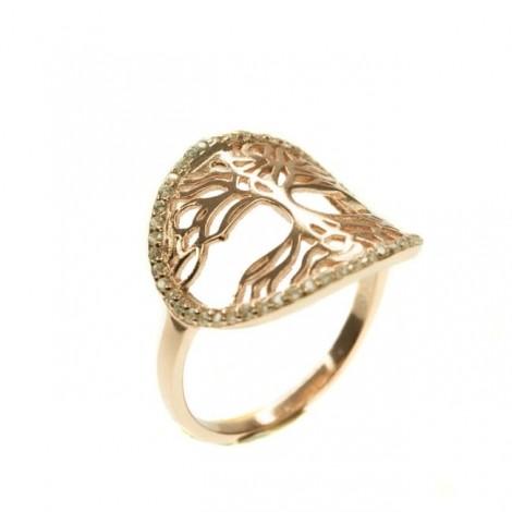 Rafinat inel din argint | Pomul vieții | argint placat cu aur roz & cristale zirconium | Mărimea 14/54