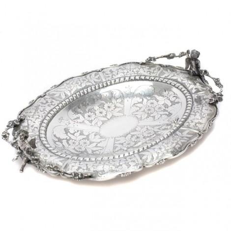 Impresionant platou din argint | manufactură de atelier Mario Poli  | Milano | cca.1950