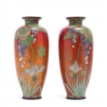 Garnitură de vaze japoneze emailate Shipōyaki cloisonné | manufactură atribuită atelierului Ando Jubei | cca.1920