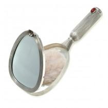 Inedită oglindă din argint cu pudrieră și etui pentru ruj | agat carnelian | Italia | cca.1954
