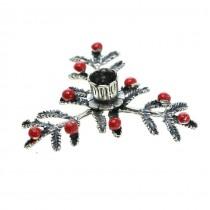 Miniatură de Crăciun | argint emailat și rodiat | Sfeșnic pe crenguțe de brad | PRODUS NOU !