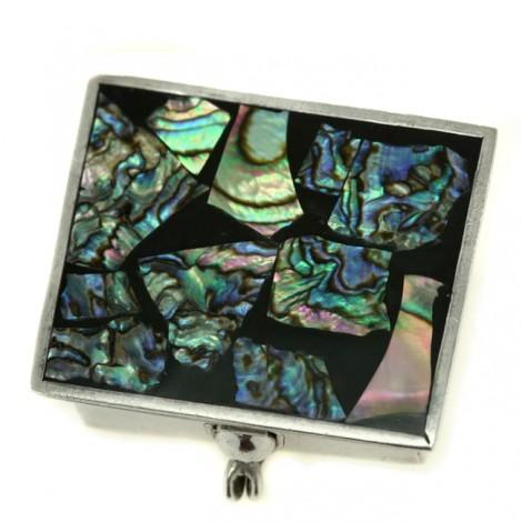 Cutiuță din argint, pentru medicamente | argint & mozaic de scoică Abalone | Mexic | post-1970