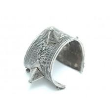 Impresionantă brătară tribală Ida Ou Nadif | Azbeg | manufactură în argint & niello | Maroc | început de secol XX