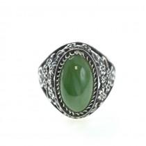 Impresionant inel vintage cu spectaculos anturaj de jad natural | Rusia Sovietică | anii '70