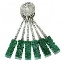 Serviciu de 6 lingurițe mexicane din argint și jad verde natural | Mayan God | cca. 1970