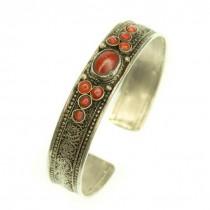 RAR : Veche brățară hindusă din argint 999, spendid decorată prin filigranare manuală | SHANKHA | | coral natural | cca.1900 - 1930 | India