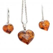 Rafinat set de bijuterii de argint decorate cu inimioare din chihlimbar baltic natural | AMBER WAVES | Produs Nou !