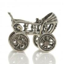 Miniatură din argint cărucior pentru bebeluși | Italia
