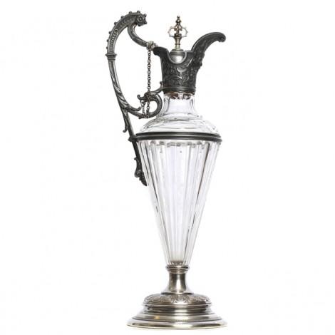 Splendidă carafă Historismus | alamă argintată & cristal | cca. 1880 | Germania