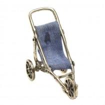 Miniatură din argint Cărucior pentru copii | manufactură în argint & denim | Italia