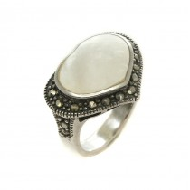 Inel romantic în stil Art Deco | argint, sidef natural & marcasite | Franța