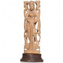 Statuetă hindusă sculptată în lemn de kadar, soclu din abanos | Lakshmi - Surya | India | cca.1970