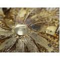 Broșă din argint filigranat și aurit | manufactură de atelier italian