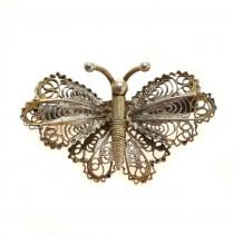 Delicată broșă manufacturată în argint filigranat | Fluture | cca.1950