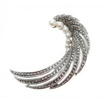 Elegantă broșă Art Deco | argint, perle naturale de cultură & marcasite | Belgia | anii '40