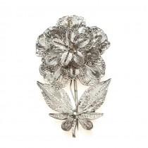 Veche broșă florală splendid filigranată în argint | început de secol XX