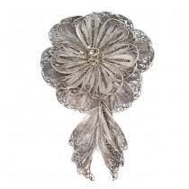Veche broșă florală de perioadă Art Nouveau  | argint filigranat | cca.1910 | Franța