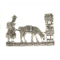 Veche broșă peruviană manufacturată în argint | cca.1940