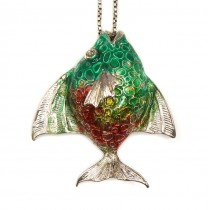 Colier cu pandant modernist Pește exotic   argint emailat champlevé   Italia   1970 -1980