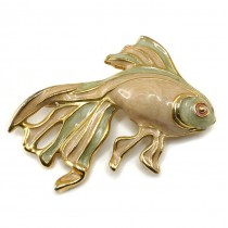 Broșă vintage | Pește exotic | metal placat cu aur și emailat cloisonné | anii '70 | Franța