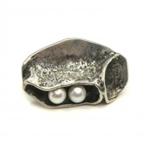 Inedită broșă modernistă în stil brutalist | argint & perle naturale de cultură | atelier Lysgards | cca.1970 | Danemarca