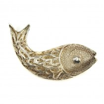 Veche broșă - amuletă magrebiană | argint filigranat | Pește | Tunisia