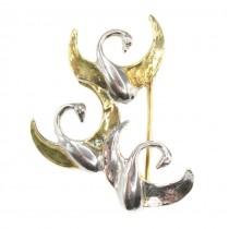 Elegantă broșă romantică din argint aurit și rodiat | Stol de lebede | Italia