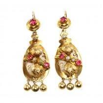 Cercei victorieni din aur 18k decorați cu rubine de sinteză și perle  | cca. 1880 -1900 | Marea Britanie